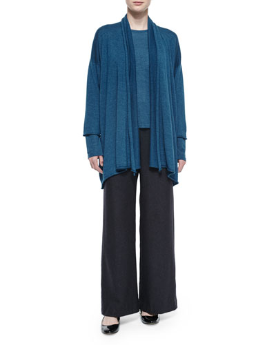 Draped Cashmere-Blend A-Line Cardigan, Round-Neck Cashmere-Blend Sweater & Silk-Cashmere Wide-Leg Pants