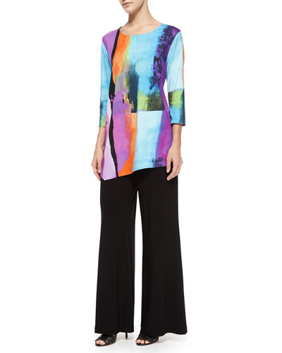 3/4-Sleeve Bright Side Printed Asymmetric Tunic & Stretch-Knit Wide-Leg Pants, Petite
