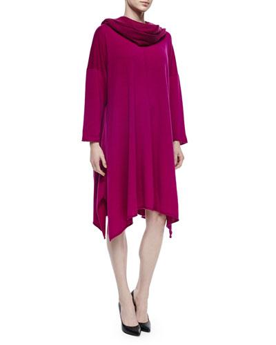 Cashmere Handkerchief A-Line Dress & Large Cashmere Fringe Scarf