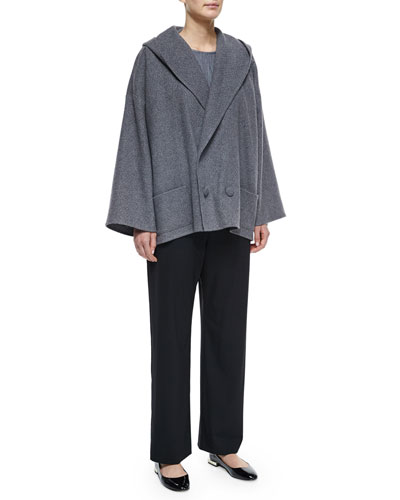 Hooded Double-Breasted Cashmere Coat, Long-Sleeve Bateau-Neck Top & Wool Stretch Trousers