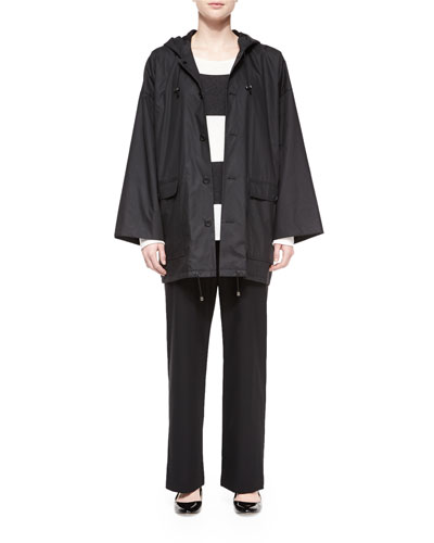 Wool Stretch Trousers, Hooded Linen Button Raincoat & Wide-Striped Cashmere Sweater