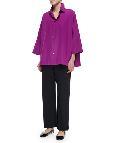 Sloped-Shoulder Button Blouse & Wool Stretch Trousers
