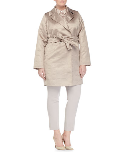 Tarbes Croc-Embossed Raincoat, Crocodile-Embossed Blouse & Ravel Slim-Leg Pants, Women