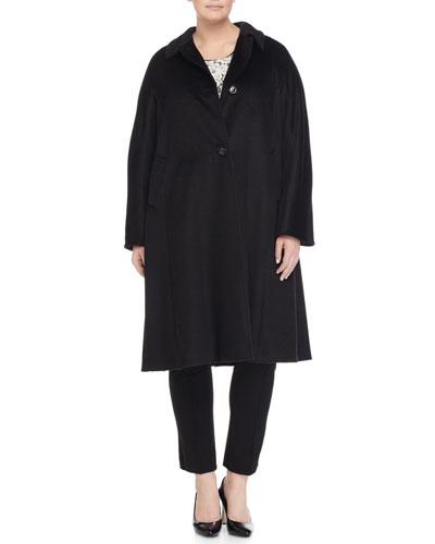 Marina Rinaldi Talia Long Wool-Blend Coat, Lace &