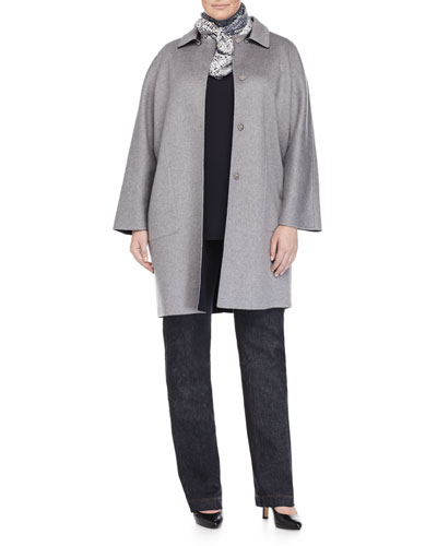 Niveo Reversible Wool Coat, Ruffle-Front Blouse, Ribbon Scarf & Igea Stretch Denim Pants, Women