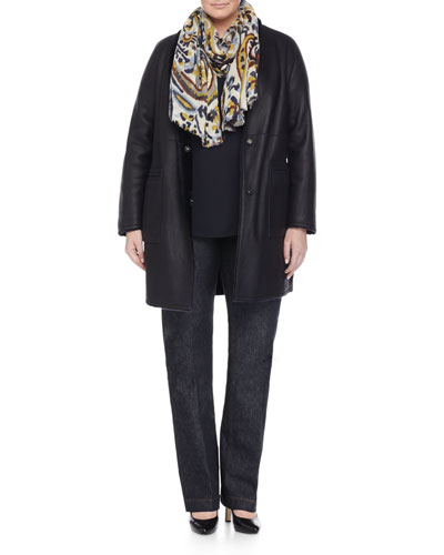 Edison Reversible Leather Shearling Fur Jacket, Bandiera Ruffle-Front Blouse, Ikat-Print Wool Scarf &  Igea Stretch Denim Pants