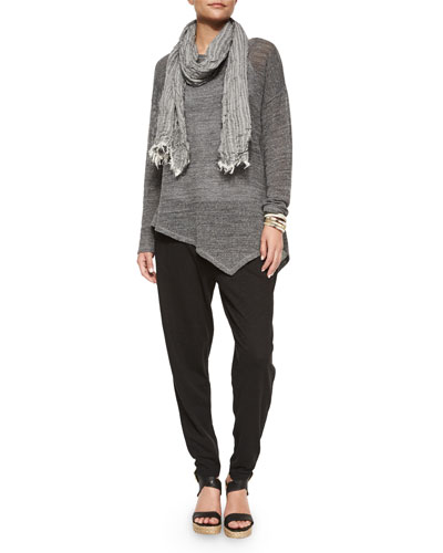 Mesh Asymmetric Tunic & Crinkle Striped Scarf, Women's