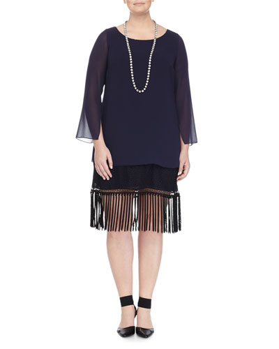 Fedele Layered Tunic W/ Fringe Trim & Lapponia Long Crystal Necklace, Women