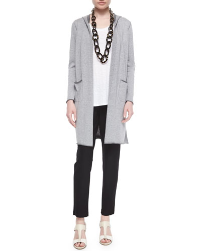 Hooded Organic Cotton Long Cardigan, Jersey Long Tank & Slim Slouchy Ankle Pants