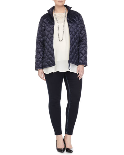 Pagoda Quilted Short Puffer Jacket, Bach Embroidered Blouse, Lapponia Long Crystal Necklace  & Slim-Leg Denim Legging, Women's
