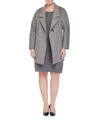 Nobile Wool One-Button Jacket & Ginseng 3/4-Sleeve Colorblock Knit Dress W/ Beading, Women's