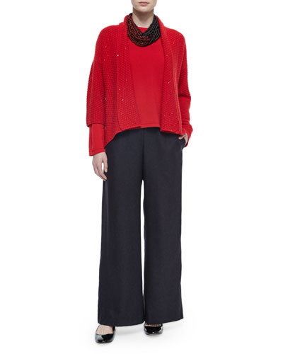 Three-Quarter-Sleeve Paillette Cardigan, Cashmere Round-Neck Sweater, Silk-Cashmere Wide-Leg Pants & Two-Tone Acai Beaded Twist Necklace