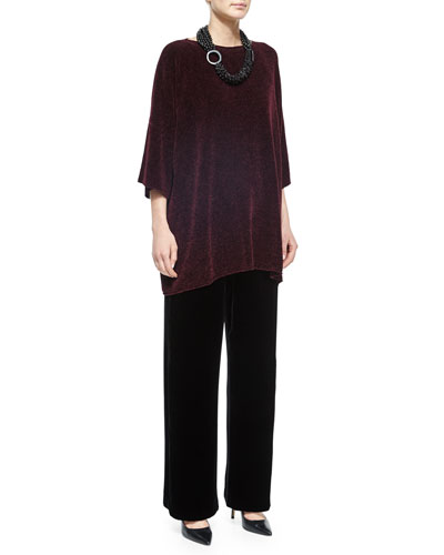 Silk Chenille Bateau-Neck Top, Velvet Wide-Leg Trousers & Multi-Strand Mixed Beaded Necklace