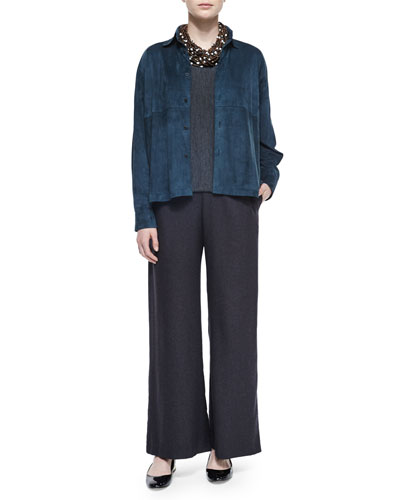 Long-Sleeve Cashmere Sweater, Lightweight Suede A-Line Blouse, Silk-Cashmere Wide-Leg Pants & Multi-Strand Beaded Choker Necklace