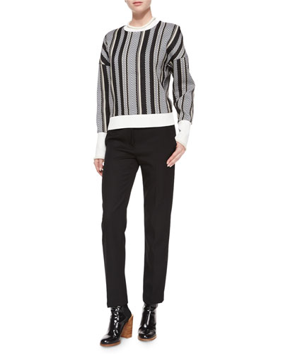 Striped Drop-Shoulder Sweatshirt & Wool Pencil Trousers