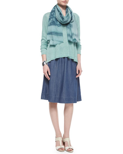 Linen Delave Box Top, Cotton Spray Scarf & Denim A-line Skirt, Women's