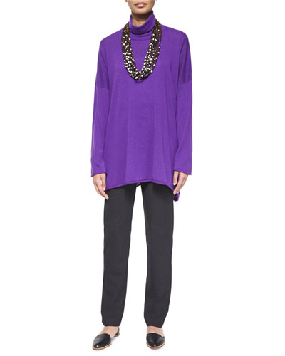 Cashmere Mock-Neck Sweater, Stretch Narrow-Leg Trousers & Multi-Strand Coconut Bead Necklace