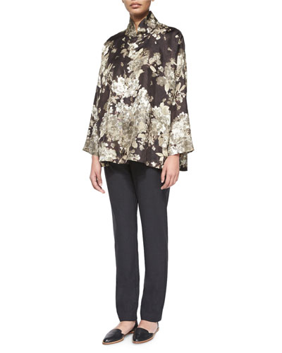Brushstroke Flower-Print Silk Tunic & Stretch Narrow-Leg Trousers