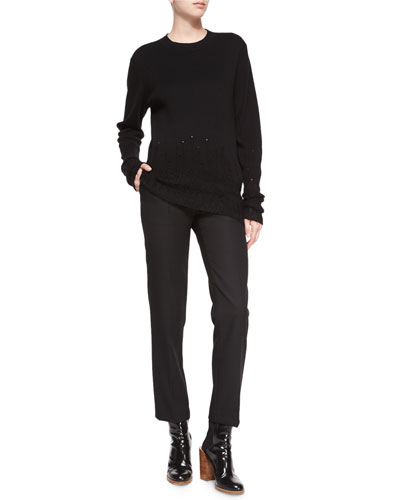 Crewneck Wool Sweater W/ Mohair Trim & Wool Pencil Trousers
