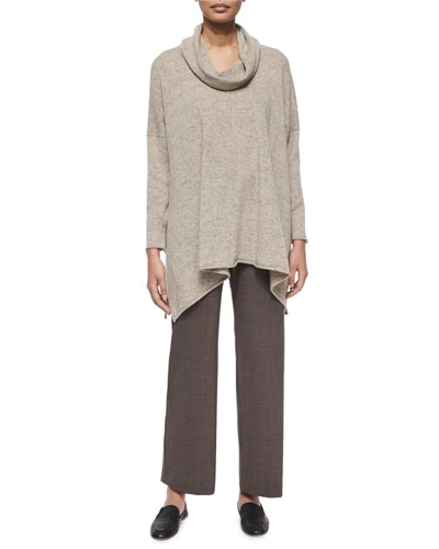 Stretch Lightweight Trousers & Cashmere/Wool Cowl-Neck Sweater