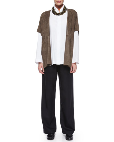 Raw-Edge Suede Tabard, Necklace, Double-Collar Cotton Poplin Blouse & Pull-On Flannel Trousers