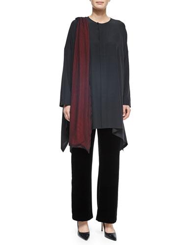 Bound-Neck Handkerchief Tunic, Velvet Wide-Leg Trousers & Chiffon Overlay Scarf