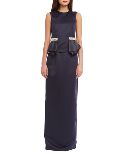 Sloane Embellished-Waist Peplum Top & Satin Evening Maxi Skirt, Midnight Blue