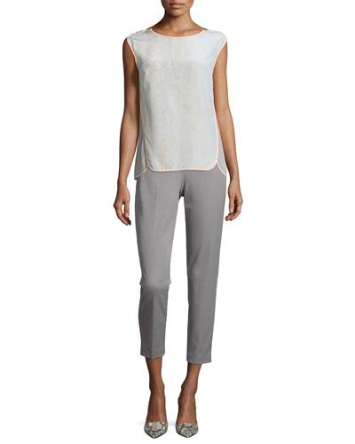 Tamara Cap-Sleeve Silk Blouse & Marcia Straight-Leg Pants