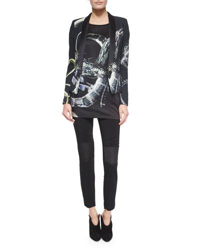 Serpent-Print Blazer w/Shawl Lapel, Cap-Sleeve Tee & Knee-Patch Skinny-Fit Pants