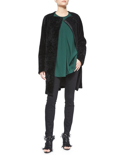 Luxe Shearling Fur Long Coat, Long-Sleeve Flared Blouse & Ultra-Skinny Denim Jeans