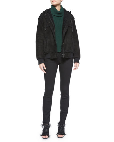 Hooded Shearling Bomber Jacket, Asymmetric-Slit Cashmere-Blend Turtleneck Sweater & Ultra-Skinny Denim Jeans