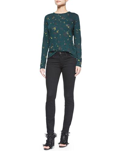 Floral-Print Tissue Tee & Ultra-Skinny Denim Jeans