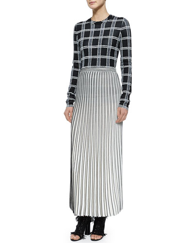 Crewneck Plaid Woven Top & Pleated Long Knit Skirt