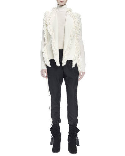 Ribbed Long Fringe Vest, Slub Knit Turtleneck Top & Two-Tone Slouch Pants with Side-Stripes
