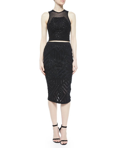 Beaded Keene Cropped Tank & Sandia Pencil Skirt, Black