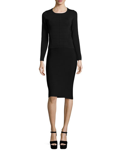Vick Long-Sleeve Banded Sweater & Laura High-Waist Pencil Skirt