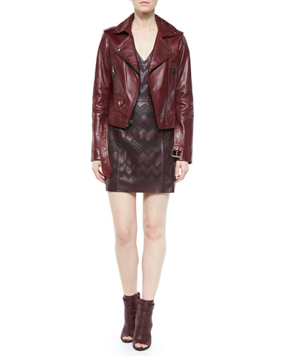 Belfast Asymmetric Leather Jacket & Serena Leather Sheath Dress, Allure