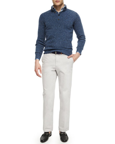 Donegal Wool Henley Sweater, Melange Tattersall Sport Shirt & Raleigh Washed-Twill Pants