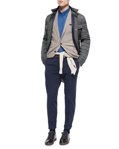 Textured Two-Button Sport Coat, Milano Snap-Front Shirt Jacket & Flat-Front Cotton Pants