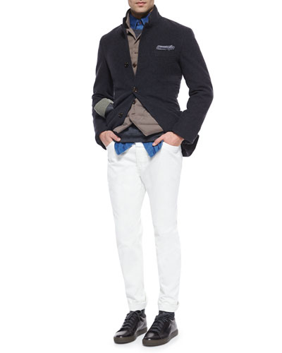 Cashmere Three-Button Knit Jacket, Down-Filled Button Vest & Solid-Pique Long-Sleeve Sport Shirt