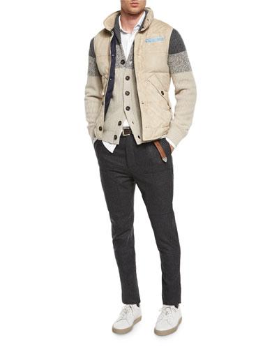 Brunello Cucinelli Button-Front Suede Vest, Shawl-Collar