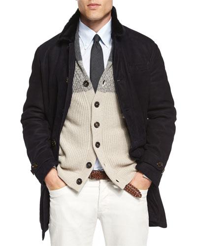 Brunello Cucinelli Button-Down Shearling Fur Coat, Shawl-Collar