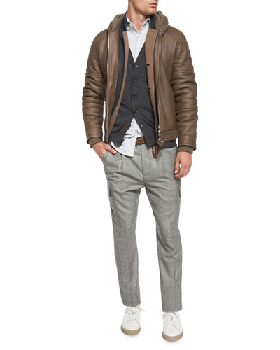 Shearling-Fur Hooded Bomber Jacket, Double-Faced Cashmere Cardigan, Wool-Blend Knit Cardigan, Long-Sleeve Pique Stretch Shirt & Slim-Fit Wool Cargo Pants