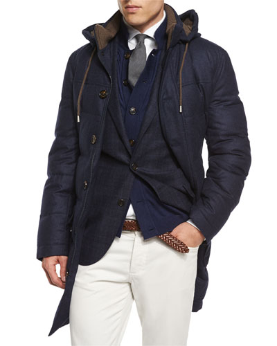 Wool-Blend Long Parka with Removable Hood, Plaid Two-Button Wool Sport Coat & Button-Down Knit Cardigan