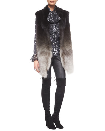 Ombre Fox Fur Vest w/ Pockets, Stamped Leopard-Print Charmeuse Blouse, Stretch Napa Leather Cropped Pants & Swarovski® Crystal Octagon Cocktail Ring