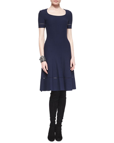 Ottoman-Knit Fit-and-Flare Dress
