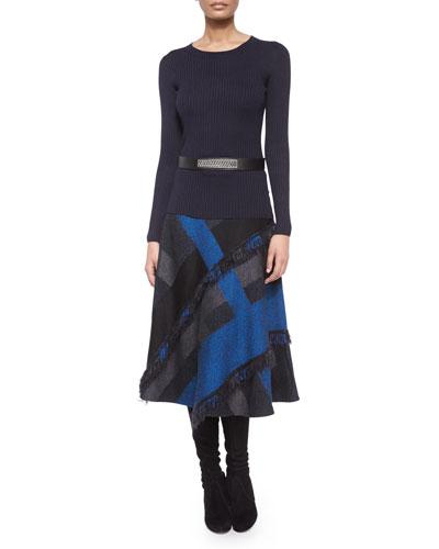Lightweight Textured Knit Sweater, Marco Patchwork Plaid Skirt & Leather Metal-Plate Hip Belt