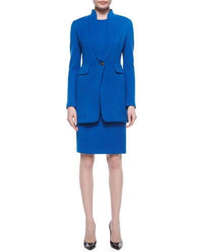 Mini Textural Knit Jacket & Sheath Dress, Tahoe Blue