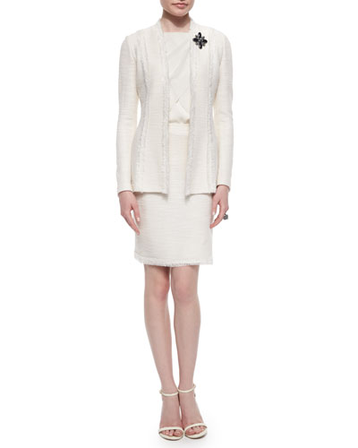 Fringe-Trimmed Shantung Blazer, Knit Skirt & Classic Shell with Tulip Overlay