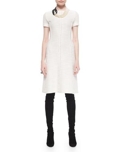 Fringe-Paneled Inlay Shantung Dress